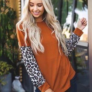 Leopard & burnt orange long sleeve